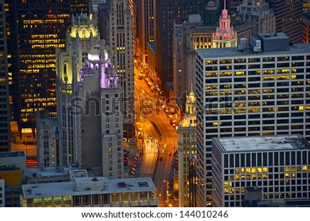 Streets of Chicago at Night - Bird Eye View. Michigan Avenue. Chicago, USA - stock photo