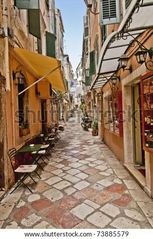 Streets of Corfu city (Kerkyra), Greece - stock photo