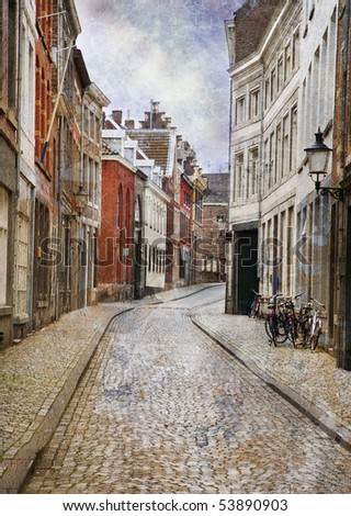 Streets of Maastricht, Netherlands. Made in artistic vintage style - stock photo