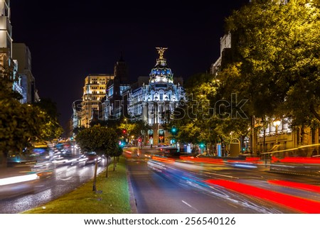 Streets of Madrid Spain at night - stock photo