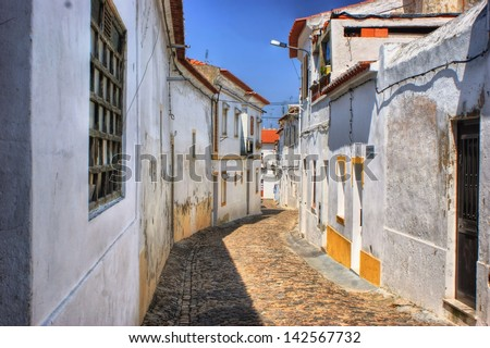 Streets of Moura village, Portugal - stock photo