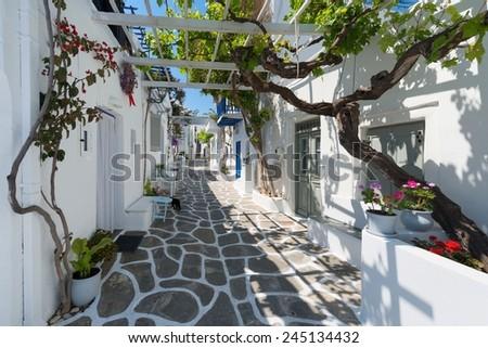 Streets of Naoussa Paros , Greek Island - stock photo
