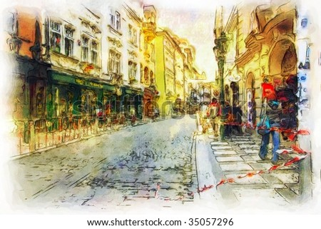 streets of Old Prague made in artistic watercolor style - stock photo