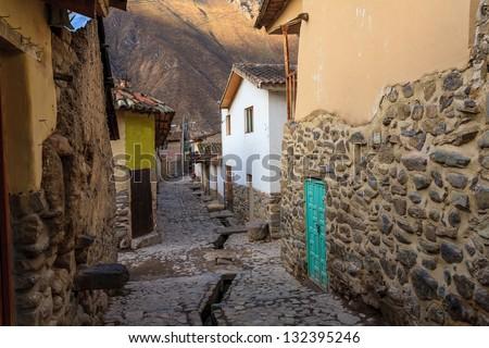 Streets of Ollantaytambo, Cuzco, Peru - stock photo