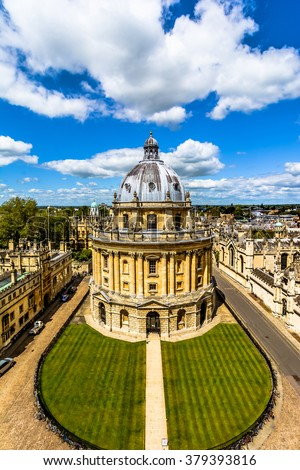 Streets of Oxford-landmark, England - overview from a church's tower with the Bodleian Library.