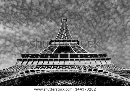 Streets of Paris in black and white. Eiffel Tower