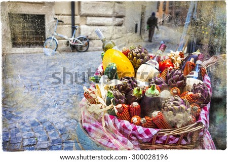 streets of Rome, with restaurant decoration. picture in retro style - stock photo