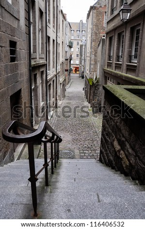 streets of saint malo, france - stock photo