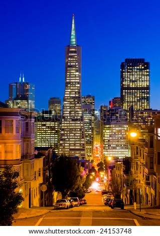 Streets of San Francisco at night - stock photo