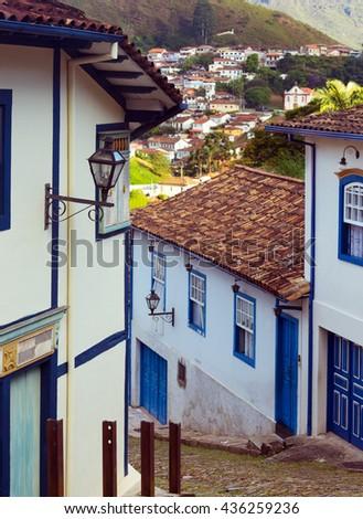 streets of the famous historical town Ouro Preto, Minas Gerais, Brazil  - stock photo