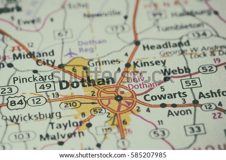 Streets On Map Around City Dothan Stock Photo Royalty Free