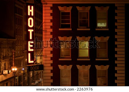 streetshot in San Francisco near Union Square - neon hotel sign - stock photo
