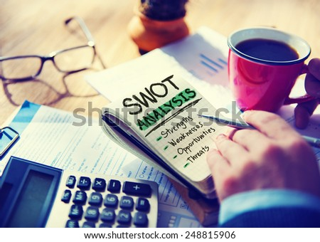 Strength Weaknesses Opportunities Threats Analysis Evaluation Strategy Concept - stock photo