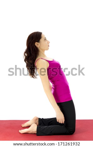 Strengthening the upper legs in yoga (Series with the same model available) - stock photo