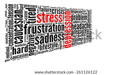 Stress and depression in word collage - stock photo