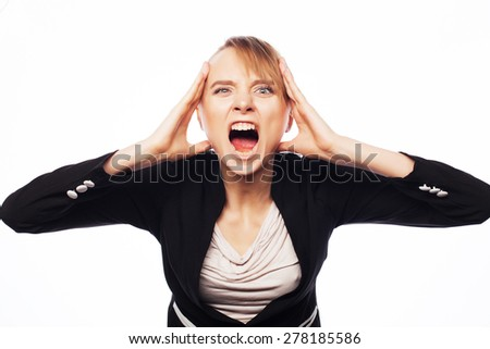 Stress and fatigue: angry screaming businesswoman. Isolated on white. - stock photo