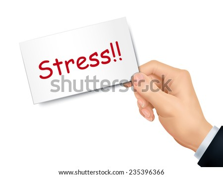 stress card in hand isolated over white background