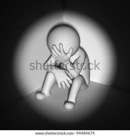 Stress concept , depressed 3d man sitting in corner of room - stock photo