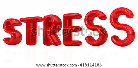 stress 3d text on a white background. 3D illustration. Anaglyph. View with red/cyan glasses to see in 3D. - stock photo