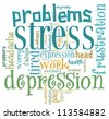 stress info-text graphics and arrangement concept on white background (word cloud) - stock photo