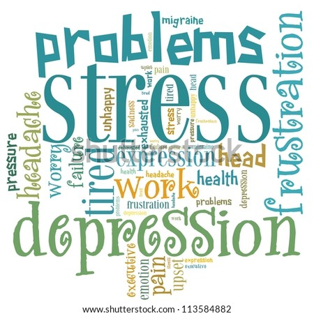 stress info-text graphics and arrangement concept on white background (word cloud)