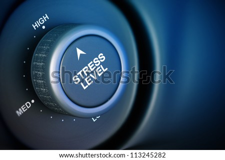 stress level button with low, medium and high word, black and blue background - stock photo