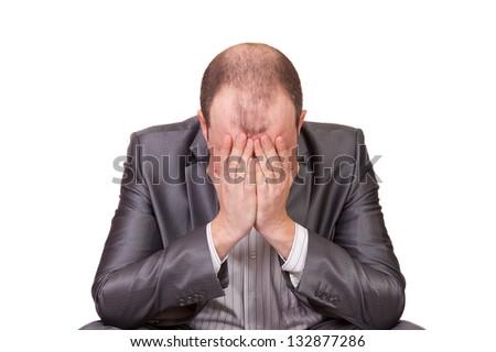 Stress Man. Businessman suffers from a headache - stock photo