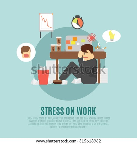 Stress on work flat icon with overworking employee  man cartoon character fearing angry boss abstract  illustration - stock photo