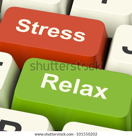 Stress Relax Computer Keys Shows Pressure Of Work Or Relaxation Online - stock photo