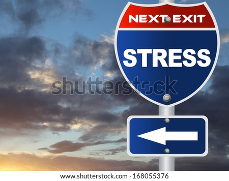 Stress road sign - stock photo
