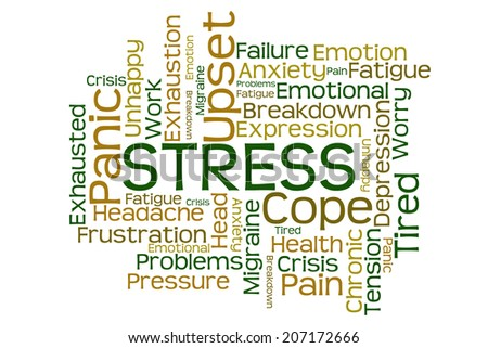 Stress Word Cloud on White Background - stock photo