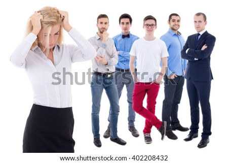 stress work concept - stressed business woman and her collegues isolated on white background - stock photo