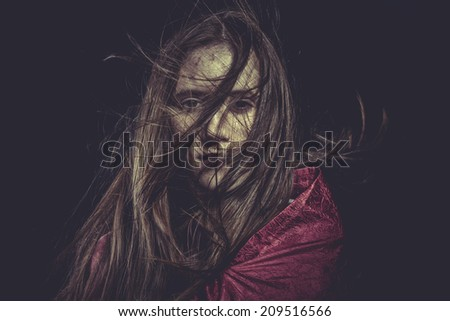 Stress, Young girl with hair flying, concept nightmares - stock photo