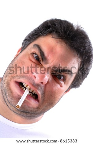 Stressed adult man with a cigar in the mouth