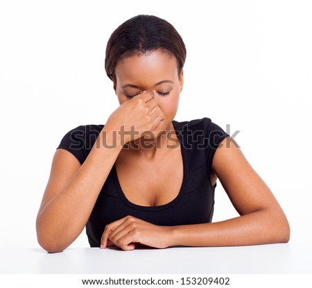 stressed african businesswoman having headache isolated on white - stock photo