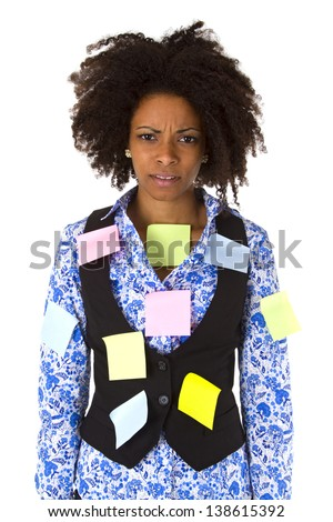 Stressed afro american woman with post its - isolated on white background - stock photo
