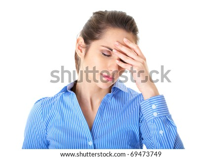 stressed and depressed young atractive businesswoman, headache and migraine concept, isolated on white - stock photo