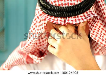 Stressed Arabic man - stock photo