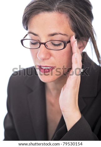 Stressed attractive brunette businesswoman isolated on white - stock photo