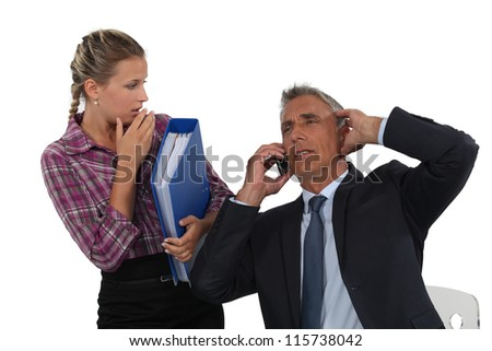 Stressed boss - stock photo