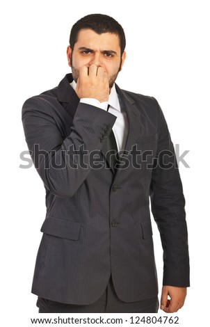Stressed business man isolated on white background