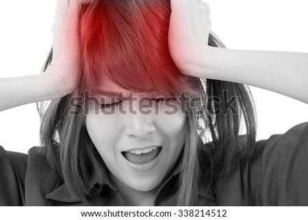 stressed business woman screaming, crying, shouting on white isolated background, concept of problem, bankruptcy, failure  - stock photo