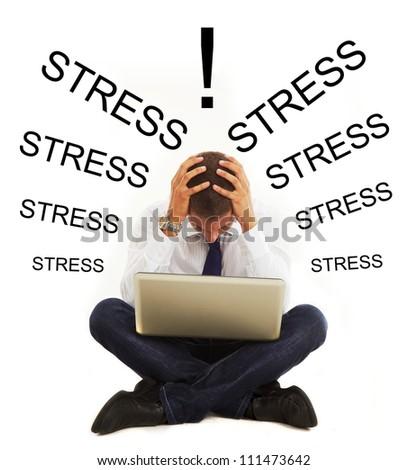 Stressed businessman with headache - stock photo