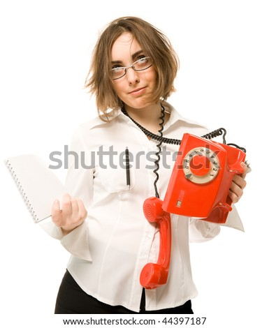 Stressed businesswoman with telephone and notebook - stock photo