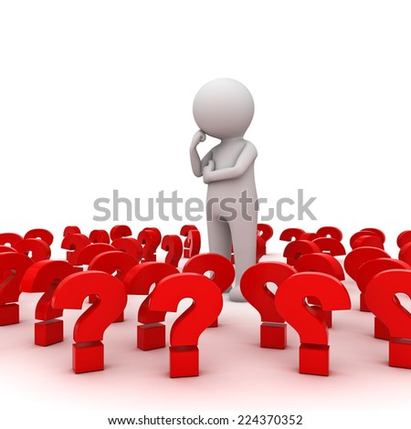 Stressed 3d man standing and thinking amongst red question marks over white background , Too many problems concept
