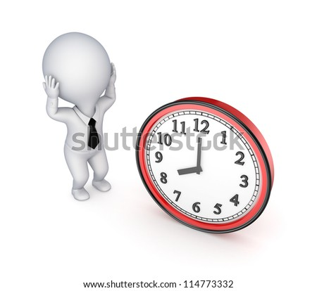 Stressed 3d small person and big watch.Isolated on white background.3d rendered. - stock photo