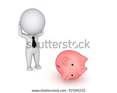Stressed 3d small person and piggy bank.Isolated on white background. - stock photo