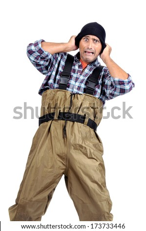 Stressed fisherman isolated in white - stock photo