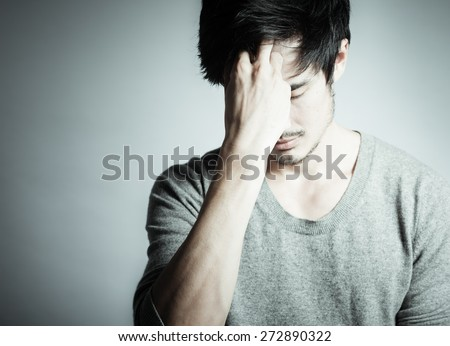 Stressed male. - stock photo