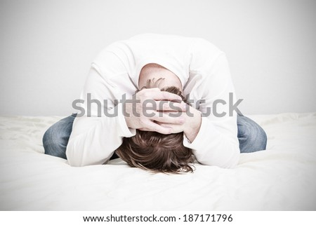 stressed man, desperation and stress - stock photo